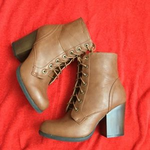 Bamboo Lace Up Heeled Boots